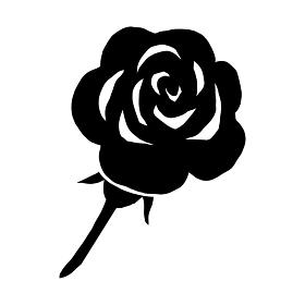 薔薇の白黒のシルエットの切り絵風のイラスト