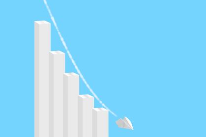 下落する棒グラフと紙飛行機 2