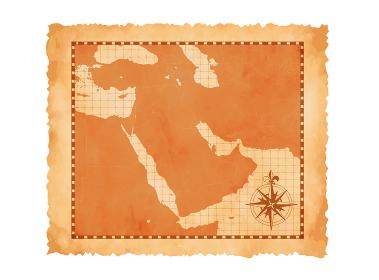 色褪せてボロボロの古地図ベクターイラスト / 中東・アラブ地域