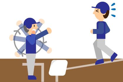 野球のベースコーチと選手