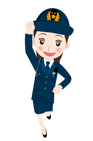 働く人直立敬礼をする制服を着た男女警官婦人警官・警察官・お巡りさんのイラスト若者青年笑顔