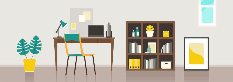 【背景素材】テレワークを行うホームオフィス