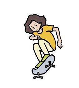 スケートボードをする少女のイラスト