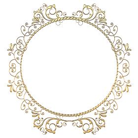 ゴージャスなゴールドメタリックの質感 オーナメント 円形 金色の飾り罫バックグラウンド