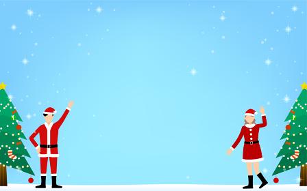 サンタクロース姿の男女とクリスマスツリーの背景