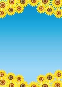 夏のイメージの手描きタッチのヒマワリ向日葵の背景イラスト|水彩画風青空バックグラウンド