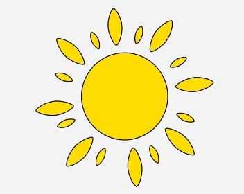 可愛いコミカルな黄色の花形太陽「黒淵あり」