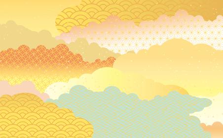 美しい和風柄の背景イラスト