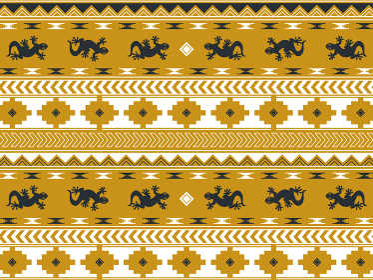 南米の民族風の図形とヤモリのパターン