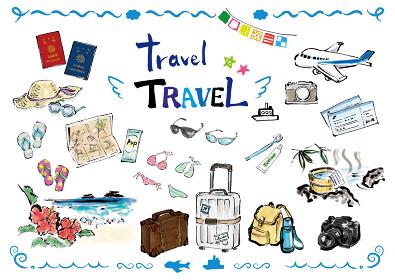 手描きの旅行関連のイラスト素材と筆文字の英文