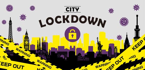 都市ロックダウン・都市封鎖(新型コロナウイルス・Covid19) バナーイラスト
