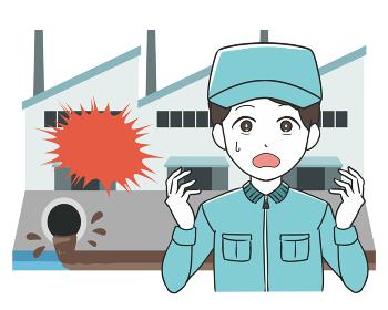 工場から汚水が流れる 男性 作業帽