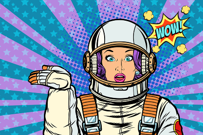 astronaut surprise woman presentation gesture