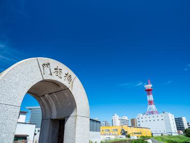 夏の青空と埼玉県川口市の風景 8月
