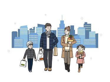 冬 買い物に出かける家族 クリスマス ショッピング 買い出し 全身 イラスト素材