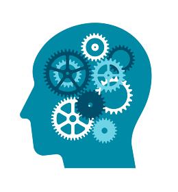 人の脳と歯車 ベクターカットイラスト (アイデア・閃き・ビジネス・インスピレーション)