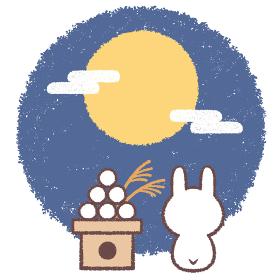 お月見をするうさぎと月見団子