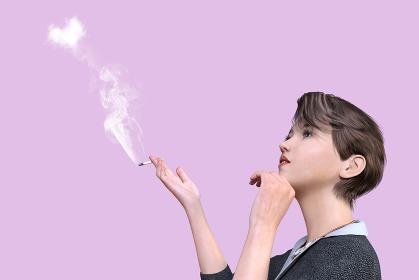 ハート型の煙がでるタバコを吸うショートヘアのクールな女性社員