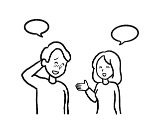 婚活で男性を褒める女性の線画イラスト