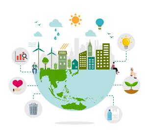エコ・エコロジー・自然・環境保護に配慮した都市生活イメージ イラスト(文字なし)