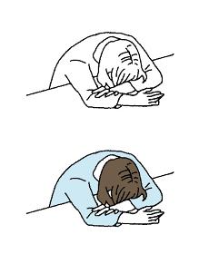 シンプルなタッチ 机に突っ伏す女性のイラストレーション