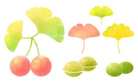 イチョウの葉っぱと木の実のセット 水彩風