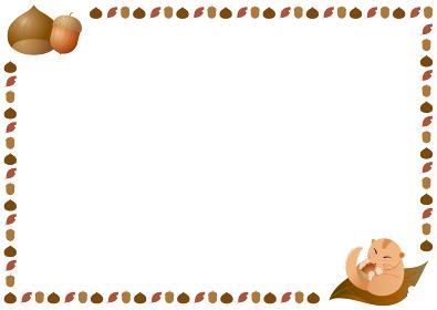 秋のフレーム 栗とどんぐりとヤマネ
