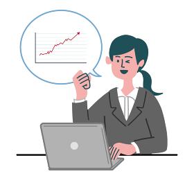 スーツ 女性 士業 パソコン グラフ 回復 上昇