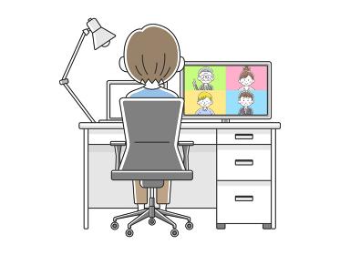 リモートワークでオンライン会議をする男性のイラスト