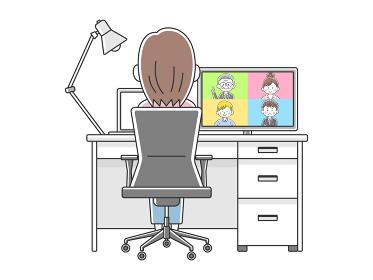 リモートワークでオンライン会議をする女性のイラスト