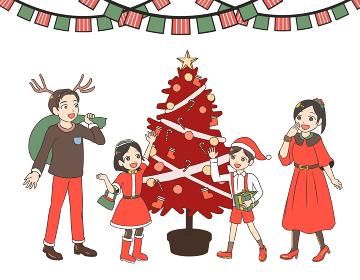 クリスマスツリーを取り囲む家族 赤