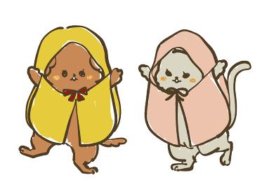 レインコートを着た犬と猫