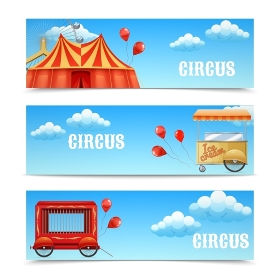Three horizontal circus banners. Three horizontal circus banners with arena Ferris wheel balloons Cage Wagon Ice Cream Cart isolated vector illustration