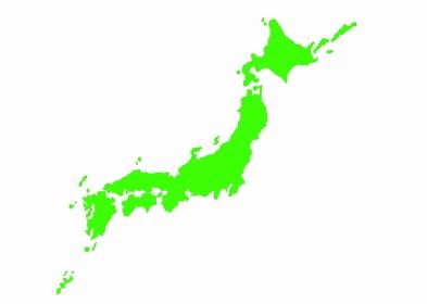 日本列島の日本地図「緑色」