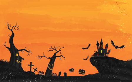 ハロウィンのお城と墓場の風景イラスト、水彩風グランジ