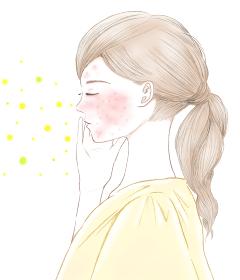 花粉症による肌荒れ 赤い湿疹 アレルギー性敏感肌