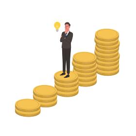 ビジネスイメージ コインと閃くビジネスマンのイラスト アイソメトリック
