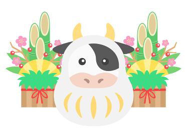 達磨のきぐるみを着た牛のイラスト