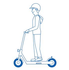 線画ラインアート人物 男性と電動キックスクーター 電動キックボードのイラスト