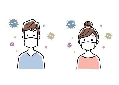 イラスト素材:マスクを装着する男性と女性