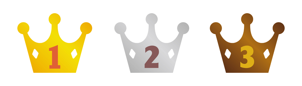 ランキング王冠イラストセット/ 金・銀・銅(1~3位)