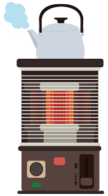 イラスト素材 ストーブ やかん ベクター 加湿 乾燥 湿度 暖房