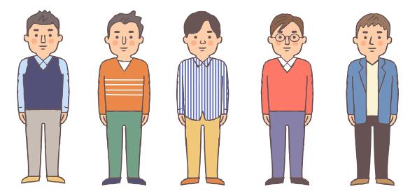 男性5人 全身 セット