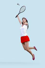 練習にテニスラケットでシャトルを打とうとジャンプする女の子