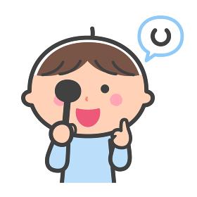 健康診断/視力検査をする男の子/線あり