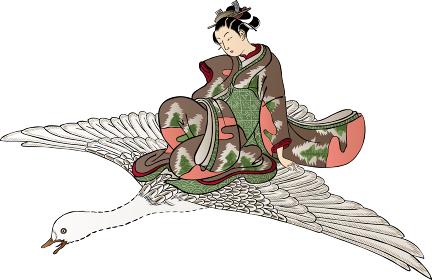 浮世絵 鳥にのっている少女 その2