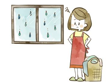 雨の日の洗濯に困っている女性 水彩