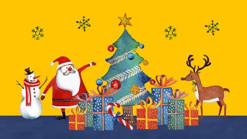 クリスマス サンタクロース 水彩 イラスト 横長