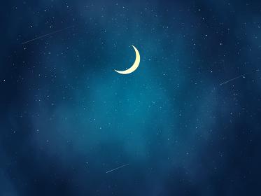 三日月と綺麗な夜空の風景イラスト