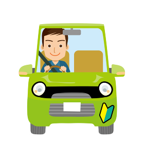 可愛らしい自動車ドライブのイラスト正面 若葉マーク初心者マークと若者男性